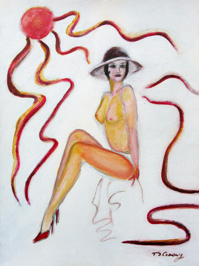 Glamour Painting - The Lady In Red High Heels by Tom Conway