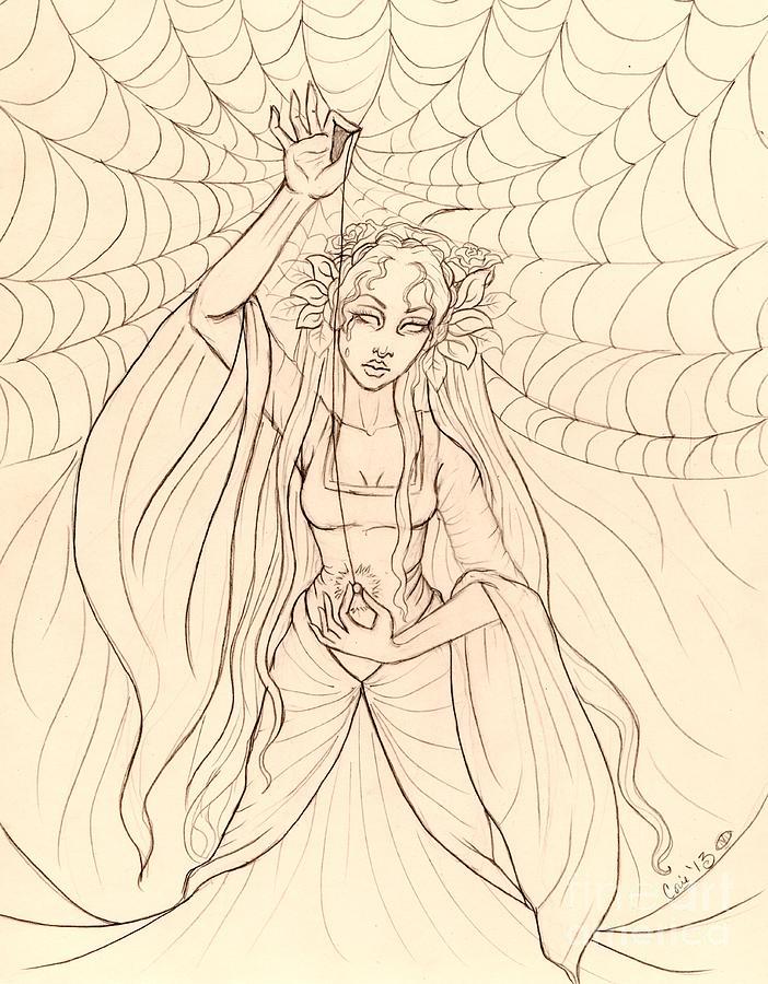 The Lady Of Shalott Drawing - The Lady Of Shalott by Coriander  Shea