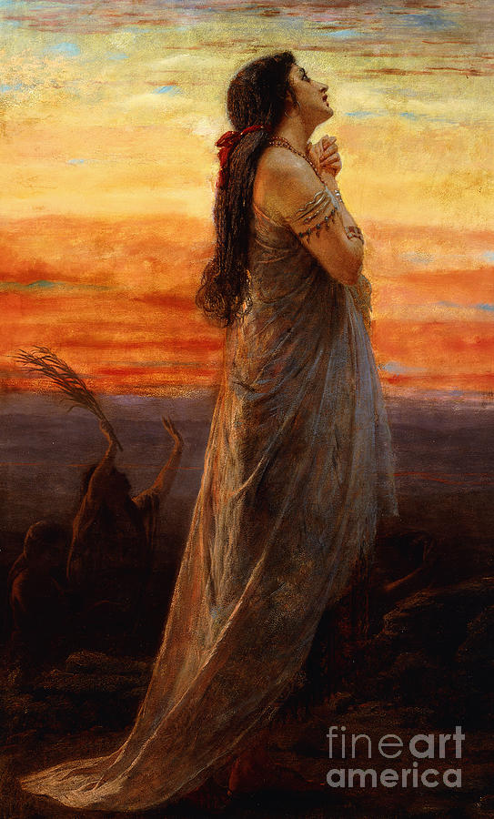 Bereavement Painting - The Lament Of Jephthahs Daughter by George Elgar Hicks