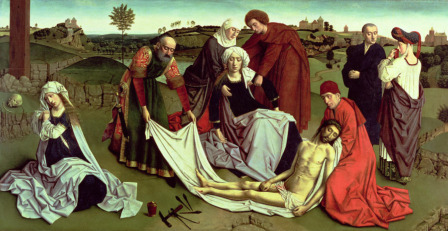 Hammer Photograph - The Lamentation Over The Dead Christ Oil On Panel by Petrus Christus