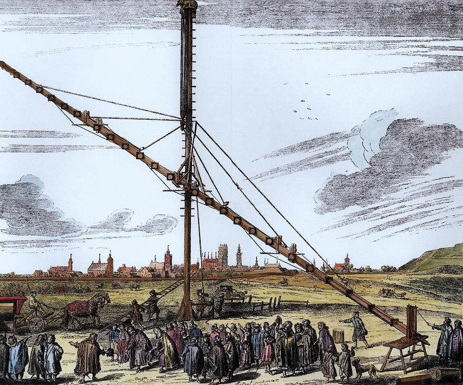 Invention Photograph - The Large Astronomical Telescope Of Johannes Hevelius 1611-1687 Illustration From Machina Coelestis by Polish School