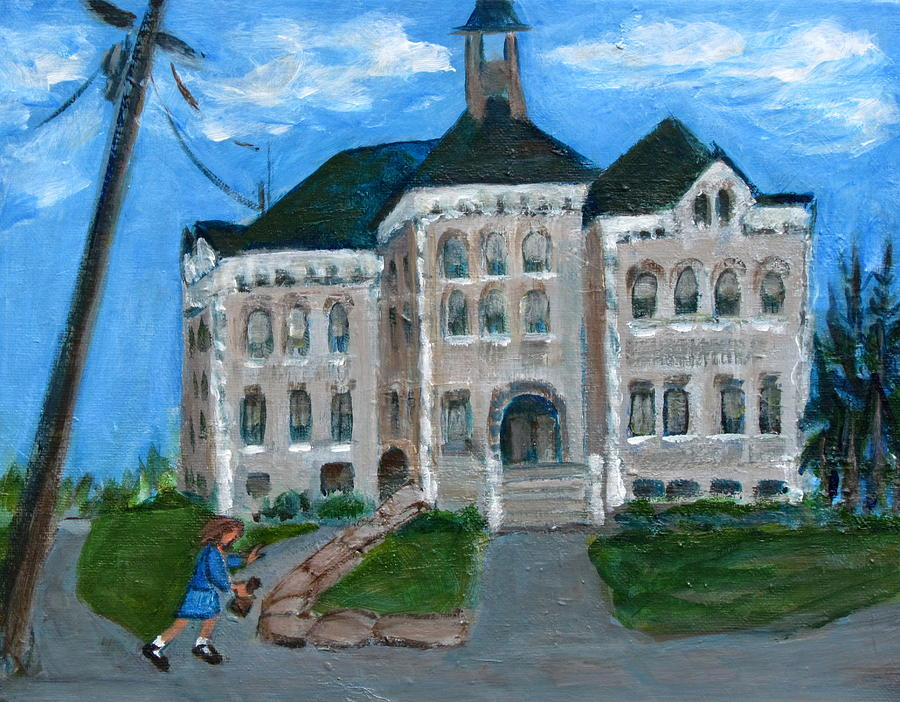 Painting Of Canajoharie Landmark Painting - The Last Bell At West Hill School by Betty Pieper