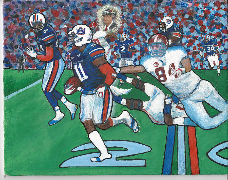 Aj Mccarron Painting - The Last Grasp Alabama Auburn Iron Bowl 2013 Add Nostalgia  by Ricardo Of Charleston