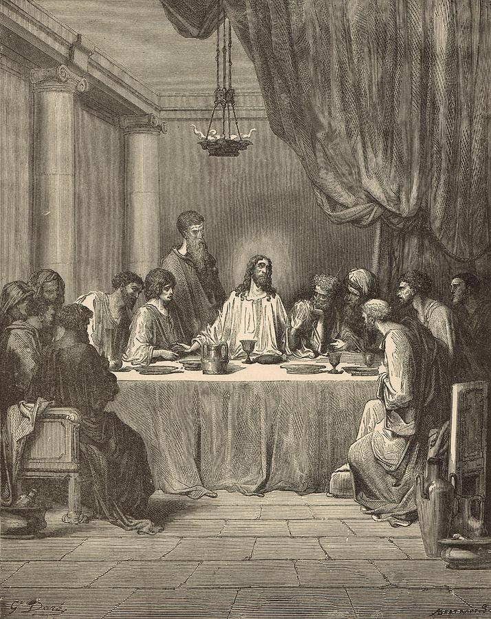 Biblical Drawing - The Last Supper by Antique Engravings