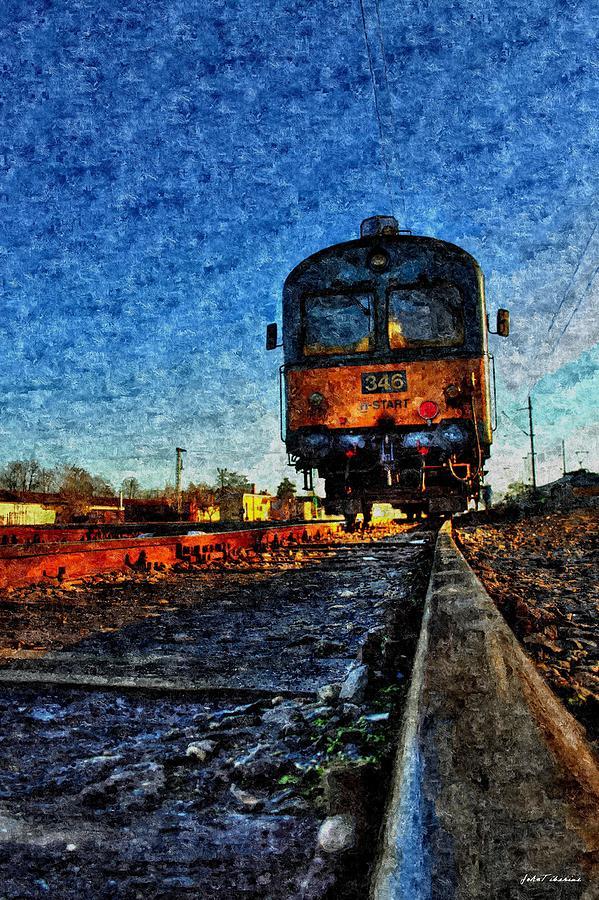 Train Painting - The Last Train by Janos Szijarto
