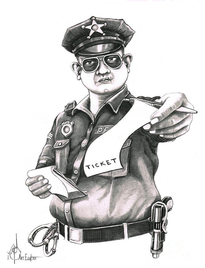 Pencil Drawing - The Law by Murphy Elliott