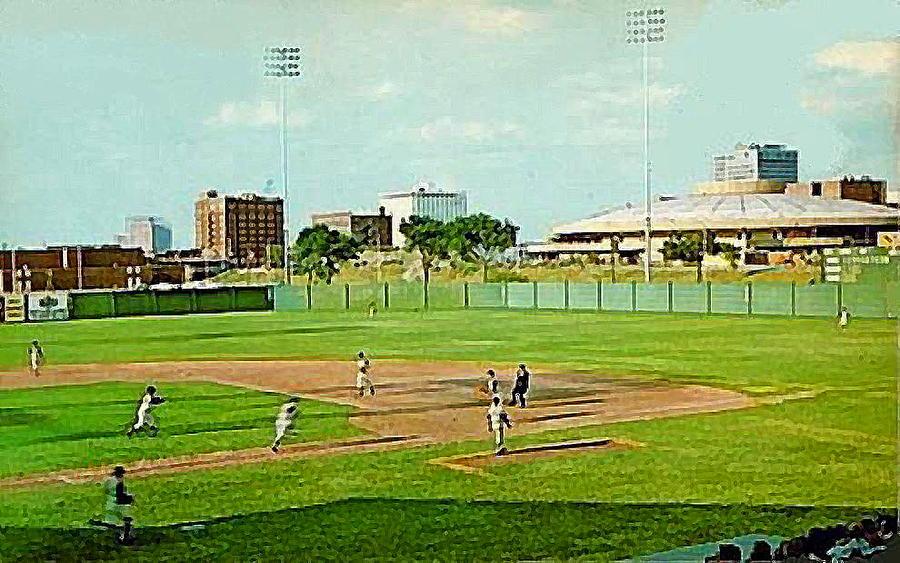 Baseball Painting - The Lawrence Baseball Stadium In Wichita Ks Around 1920 by Dwight Goss