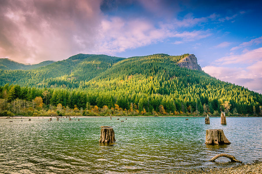 Cascade Mountains Photograph - The Ledge Above The Lake by Brian Xavier