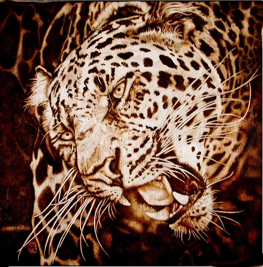 Fire Painting Painting - The Leopards Hello by Cynthia Adams