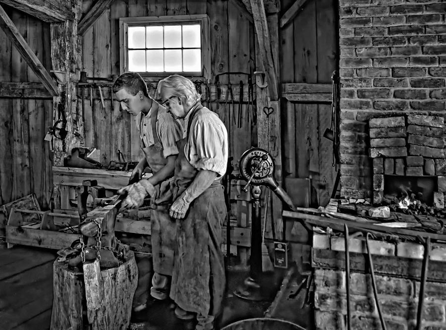 Blacksmith Photograph - The Lesson Monochrome by Steve Harrington