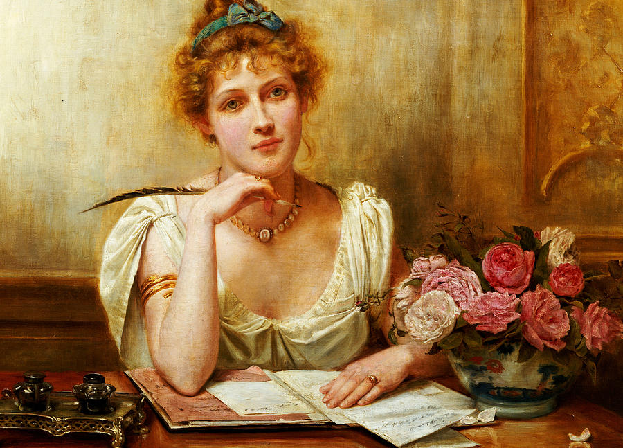 Letter; Writing; Love; Thinking; Female; Seated; Desk; Half Length; Feather; Quill; Ink; Inkwell; Roses; 19th; 20th Painting - The Letter  by George Goodwin Kilburne