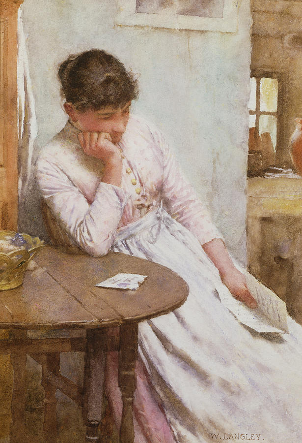 Female Painting - The Letter  by Walter Langley
