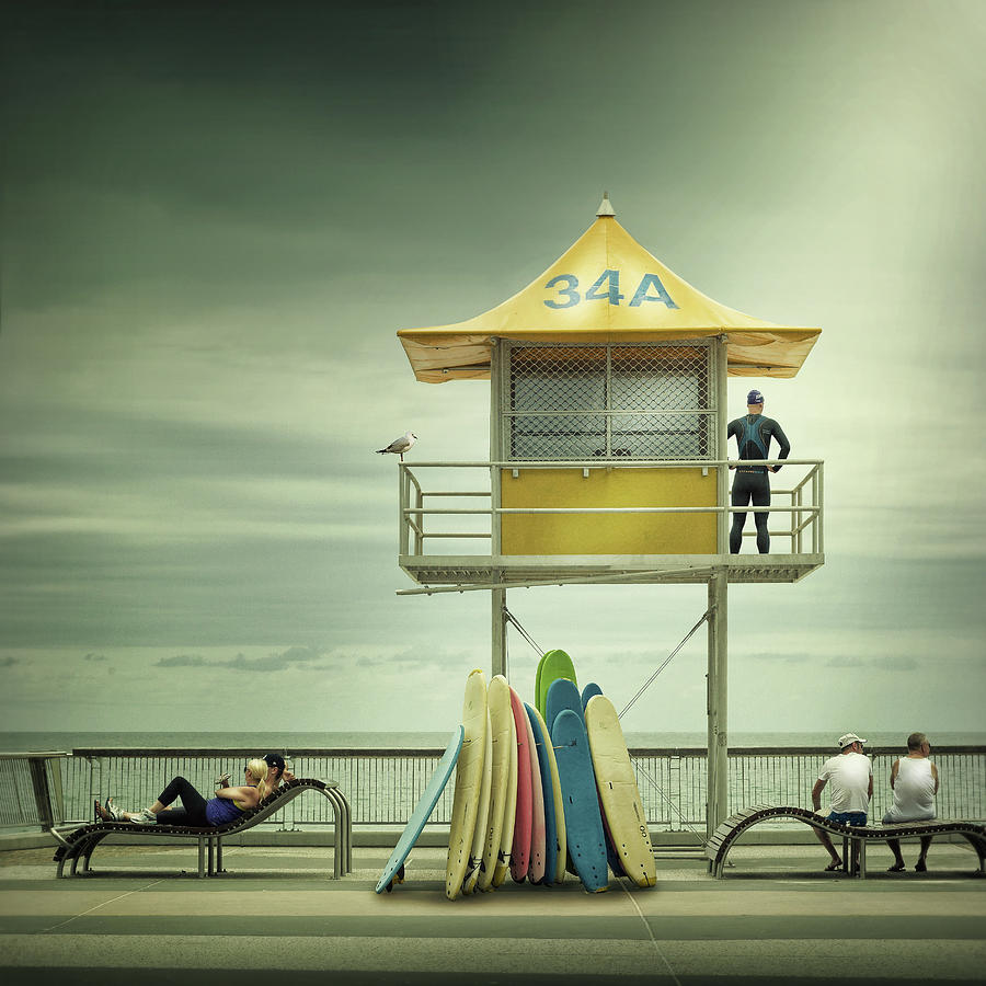 Creative Edit Photograph - The Life Guard by Adrian Donoghue
