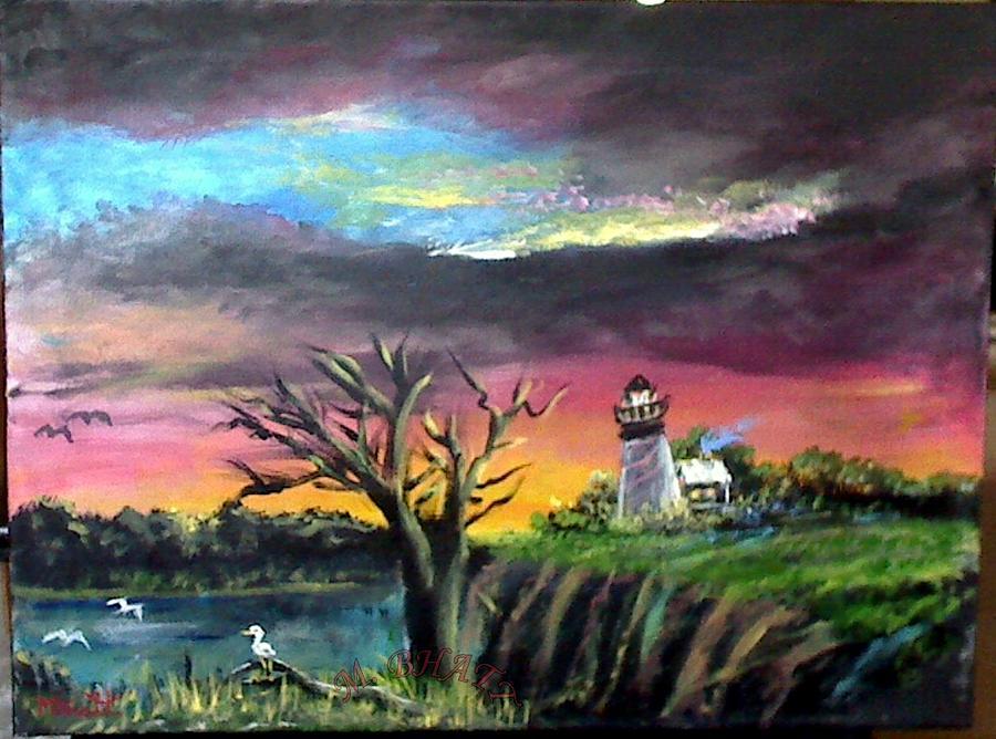 Light House Painting - The Light House-3 by M bhatt