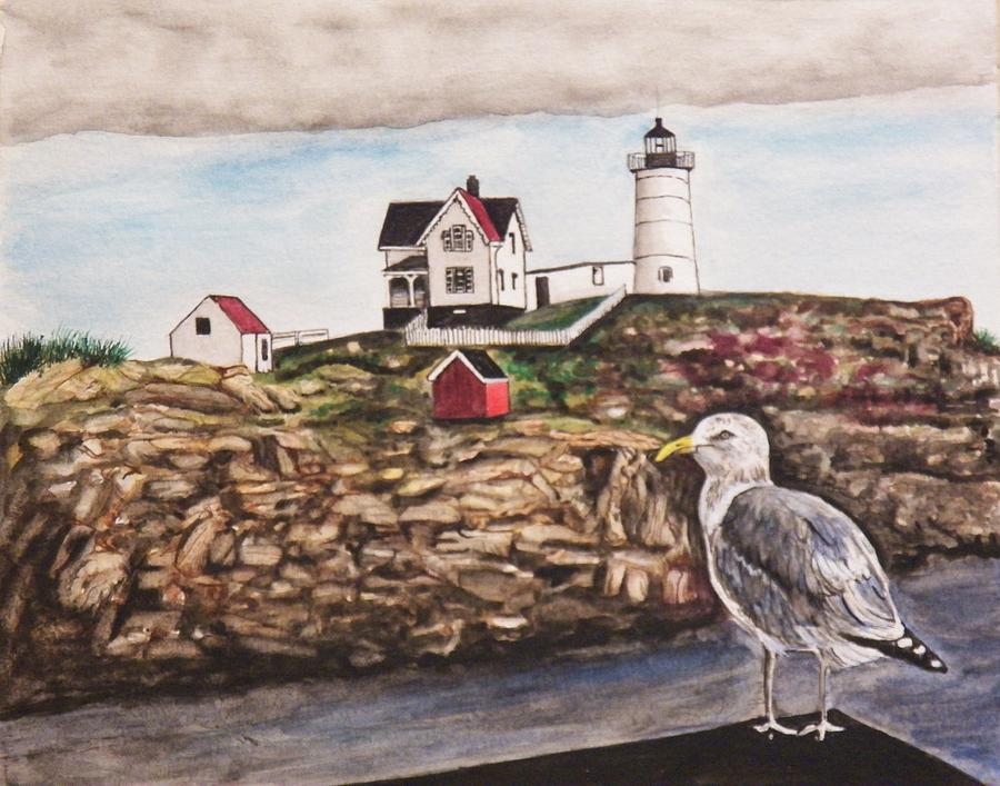 Seascape Painting - The light House by Jim  Reale