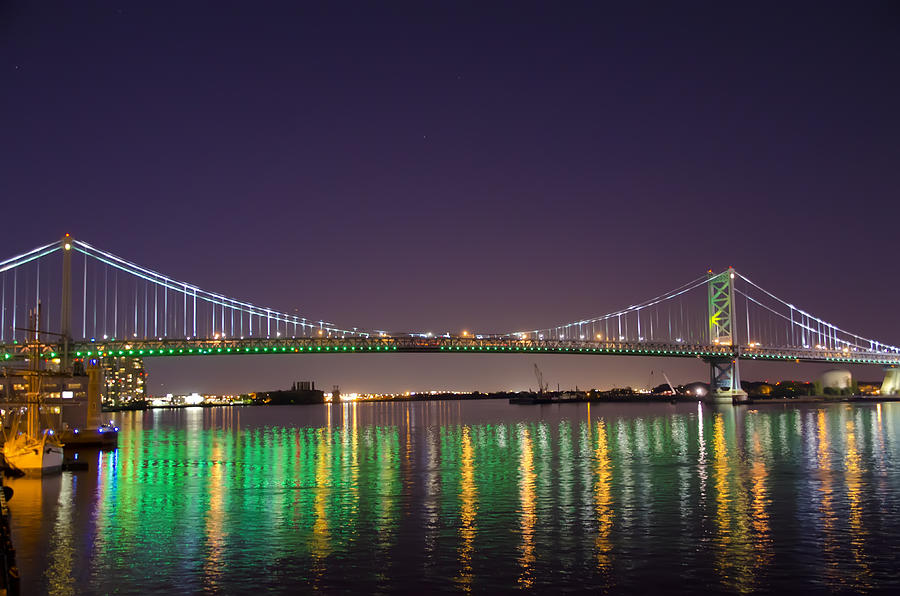 Lighted Photograph - The Lighted Ben Franklin Bridge by Bill Cannon