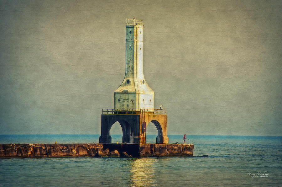Port Washington Photograph - The Lighthouse And The Fisherman by Mary Machare