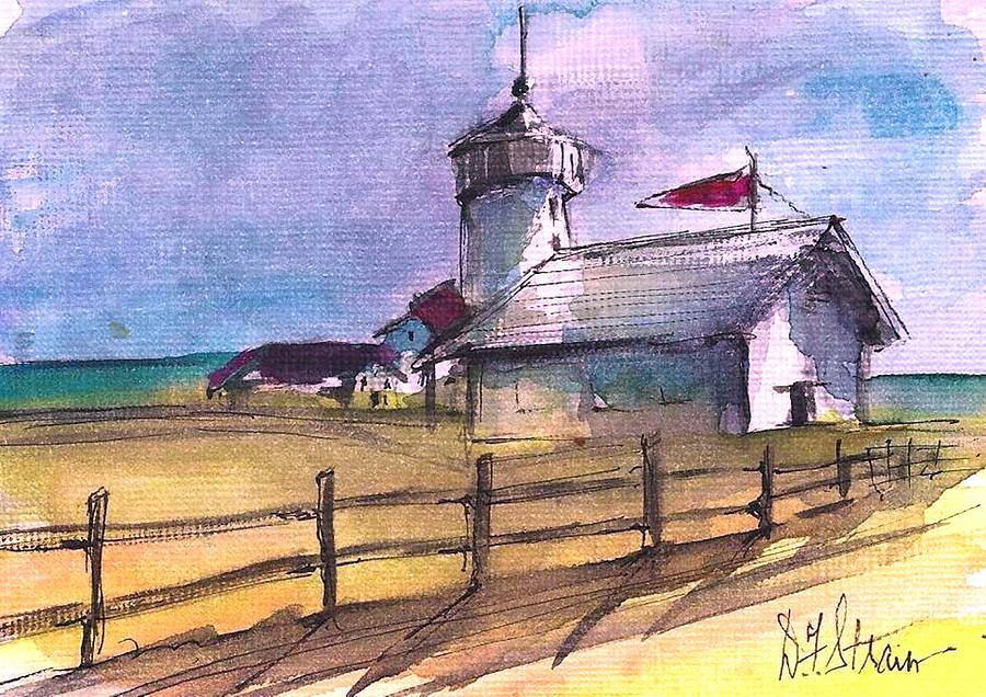 Ocean Painting - The Lighthouse by Diane Strain