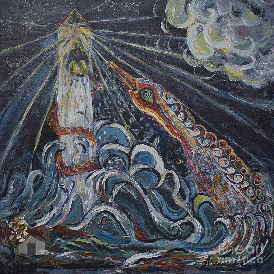 Ocean Painting - The Lighthouse Keeper And The Swan 2 by Avonelle Kelsey