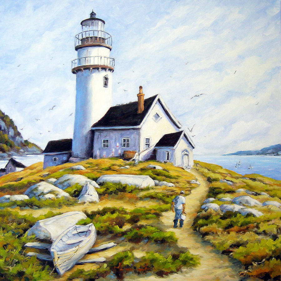 The Lighthouse Keeper Painting By Richard T Pranke