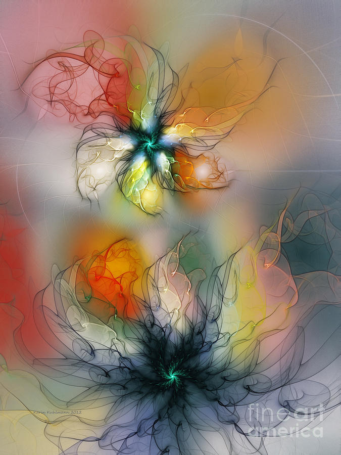 Abstract Digital Art - The Lightness Of Being-abstract Art by Karin Kuhlmann
