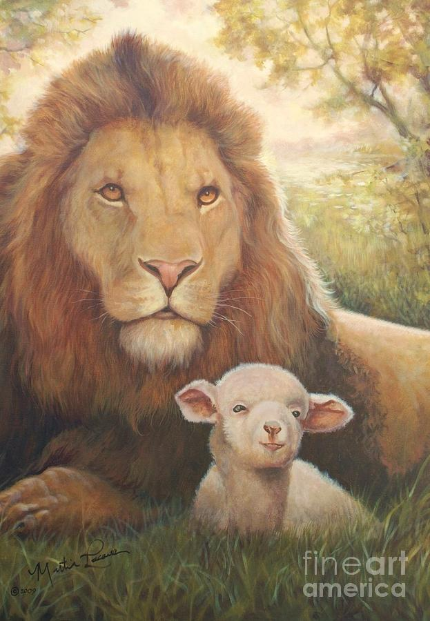 The Lion And The Lamb Painting by Martin Lacasse
