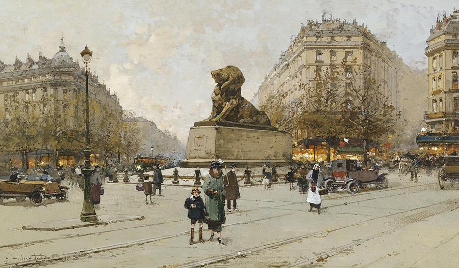 19th Century Painting - The Lion Of Belfort Le Lion De Belfort by Eugene Galien-Laloue
