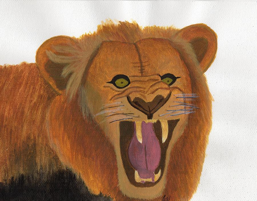 Lion Painting - The Lions Roar by Bav Patel