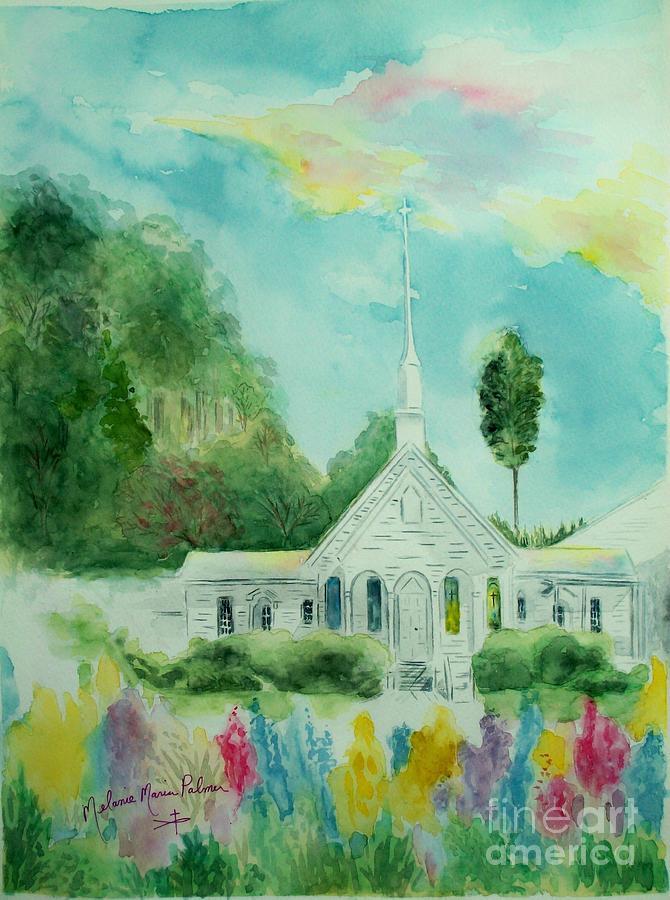Church Painting - The Little Country Church by Melanie Palmer