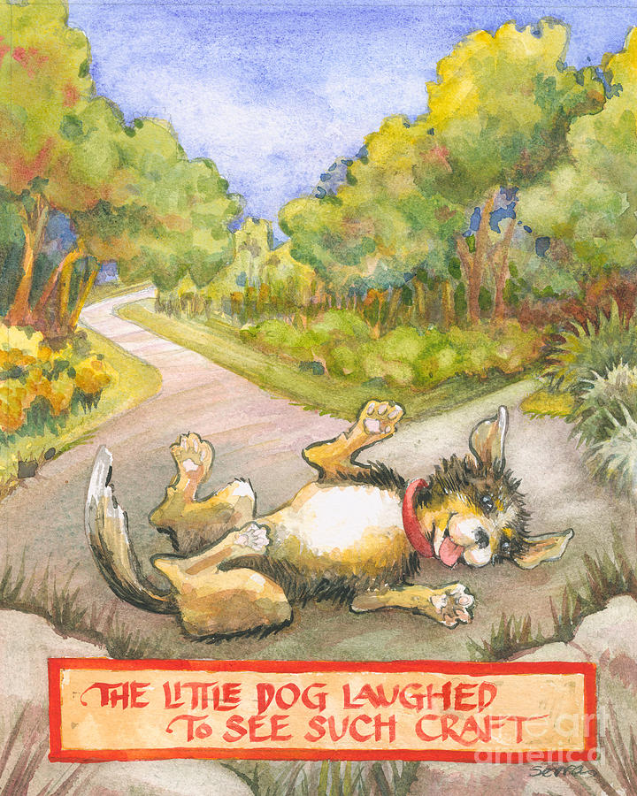 Puppy Painting - The Little Dog Laughed by Lora Serra