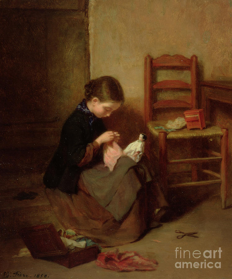 Stitching Painting - The Little Dressmaker by Pierre Edouard Frere