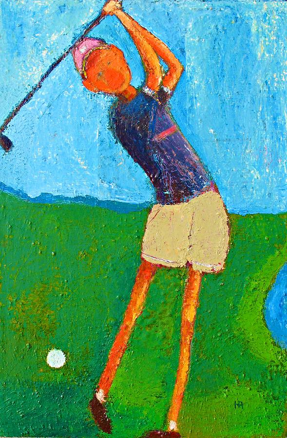 Abstract Painting - The Little Golfer by Habib Ayat