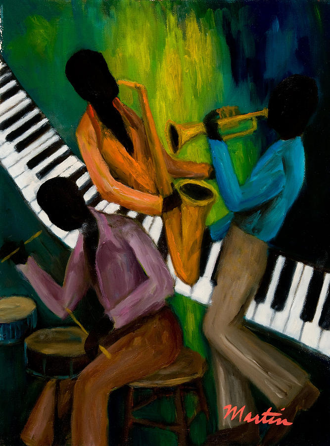 Afro Painting - The Little Jazz Trio II by Larry Martin