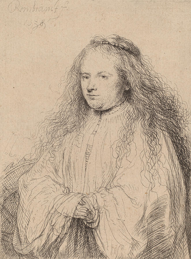 Dutch Drawing - The Little Jewish Bride by Rembrandt