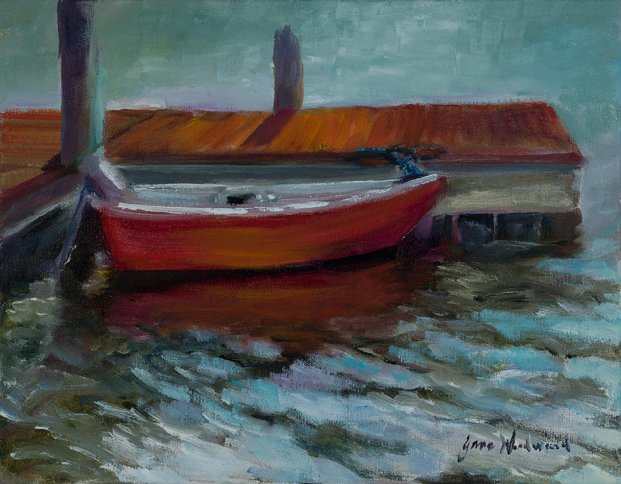 Jane Woodard Painting - The Little Red Boat by Jane Woodward