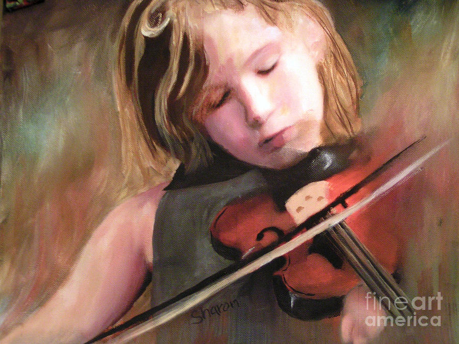 Musical Painting - The Little Violinist by Sharon Burger