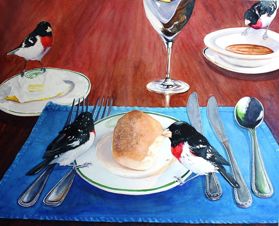 Grosbeak Painting - The Local Lunch Crowd by Brenda Beck Fisher