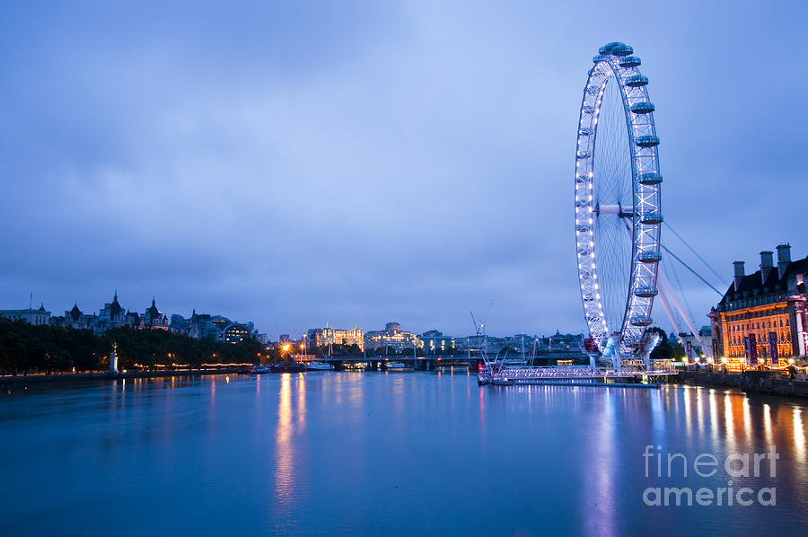 Big Ben Photograph - The London Eye Dawn Light by Donald Davis