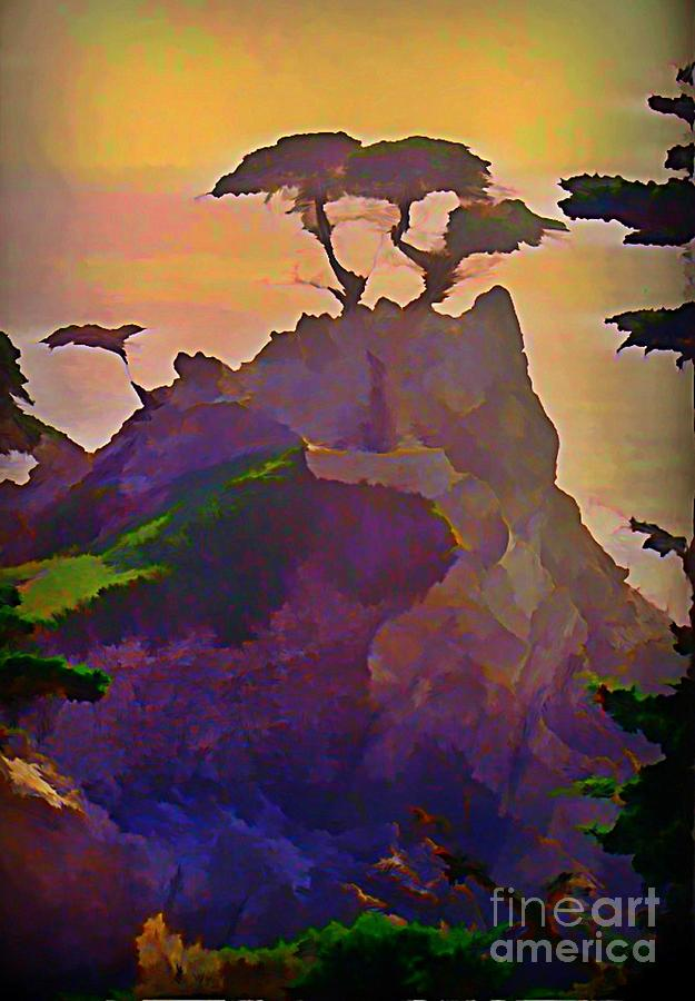 The Lone Cypress Painting - The Lone Cypress by John Malone