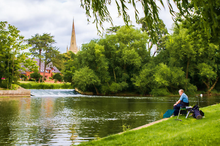Stratford-upon-avon Photograph - The Lone Fisherman by Trevor Wintle