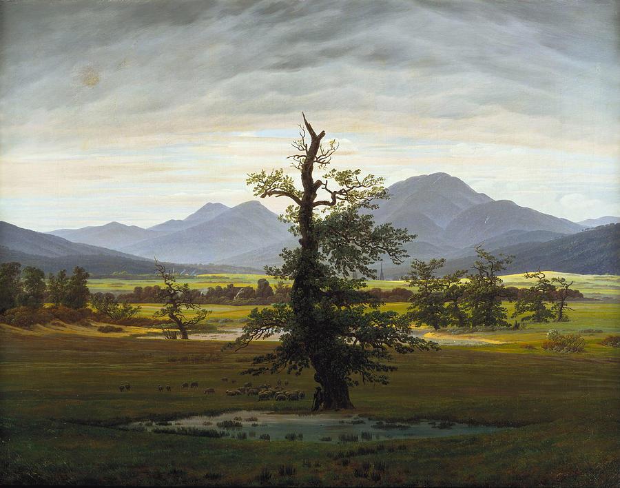 Caspar David Friedrich Painting - The Lone Tree.  Village Landscape in Morning Light by Caspar David Friedrich