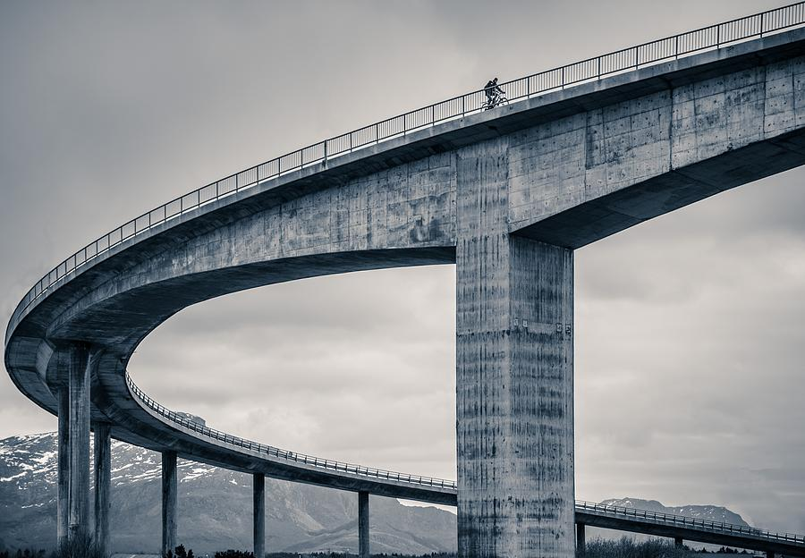 Biker Photograph - The Lonely Biker by Mette Caroline Str?ksnes
