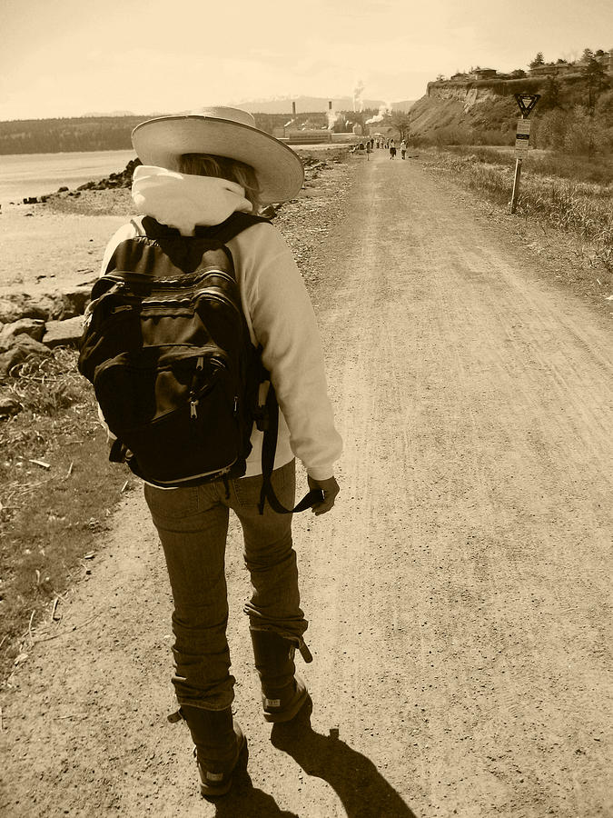 Lady Walking On A Long And Dusty Road Photograph - The Long And Winding Road by Kym Backland