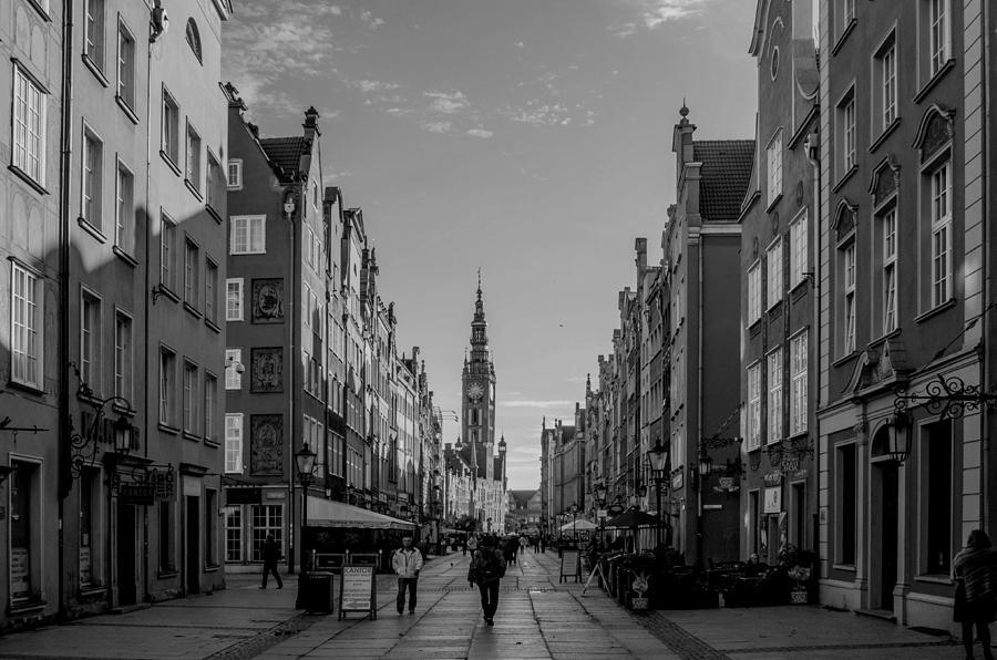 City Photograph - The Long Lane In Gdansk Bw by Adam Budziarek