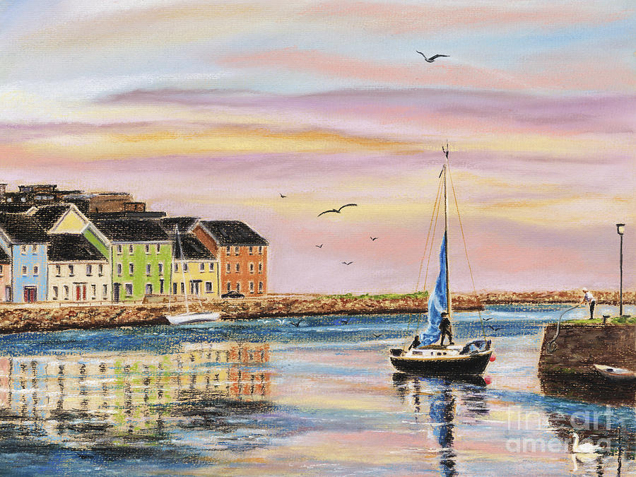 Galway Painting - The Long Walk- Evening Sky by Vanda Luddy
