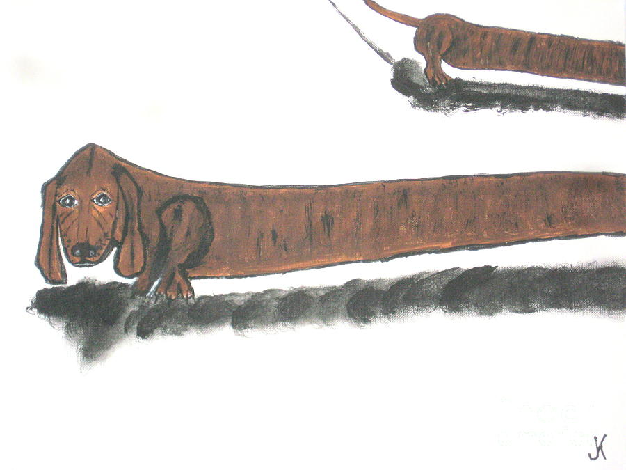 The Longest Dog In The World Painting By Jeffrey Koss