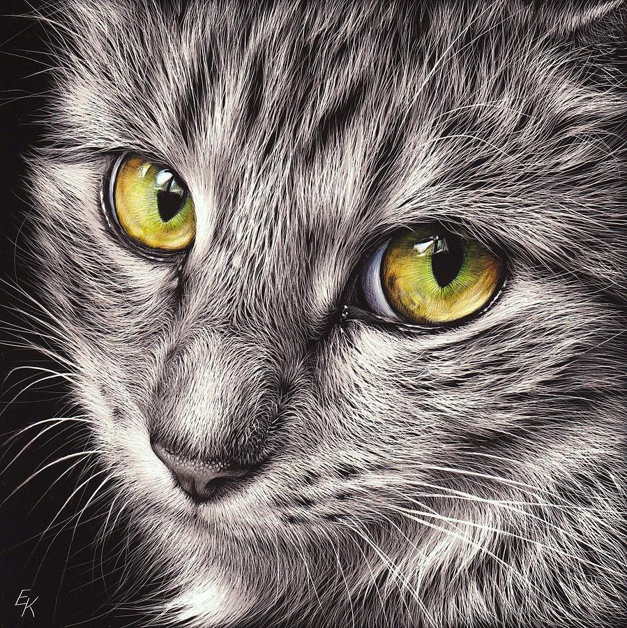 Cat Mixed Media - The Look by Elena Kolotusha