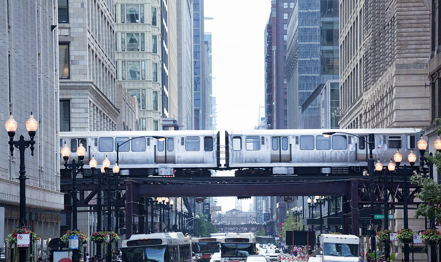 The Loop And El Train In Chicago Photograph by Yinyang