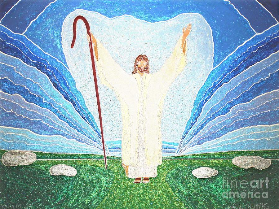 Christian Scriptural Fine Art Lord Shepherd Jesus Painting - The Lord Is My Shepherd Eee011 by Daniel Henning