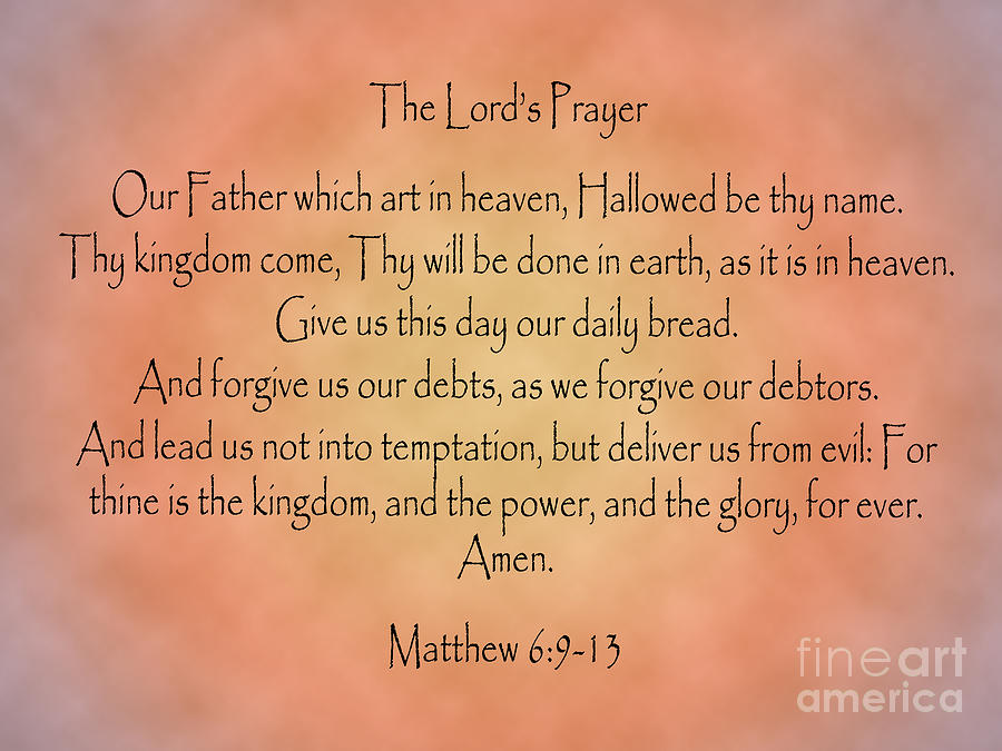 The Lordu0027s Prayer Digital Art   The Lords Prayer Matthew Bible Verse By  Angela Sullivan